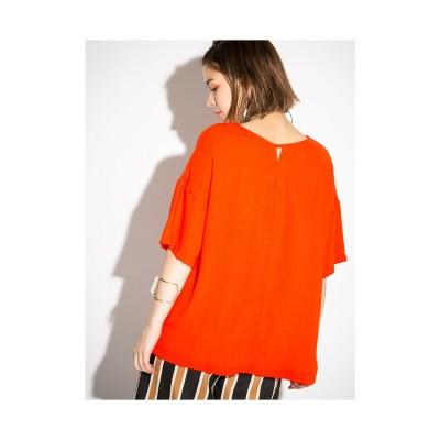 LocoChica ドロップショルダーBIGシルエットTシャツ オレンジ