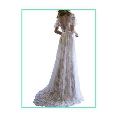 UZN Women's Romantic Boho Champagne Lace Beach Wedding Dresses Country Bridal Gown US12並行輸入品