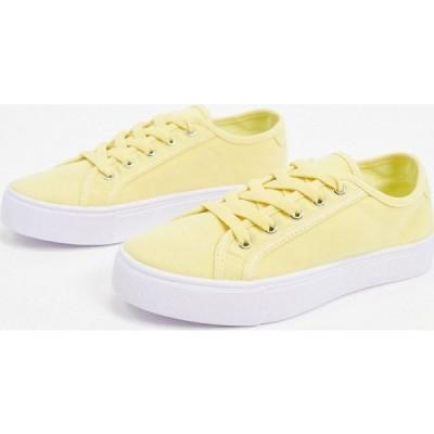 エイソス ASOS DESIGN レディース スニーカー レースアップ シューズ・靴 Dizzy lace up trainers in lemon レモン
