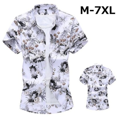シャツ 半袖 メンズ 花柄シャツ カジュアルシャツ リゾート 大きいサイズ 白シャツ プリント 男性用 細身 お兄系 トップス 2021 夏