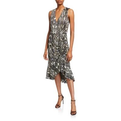 パーカー レディース ワンピース トップス Briony Python-Print Ruched Ruffle Dress