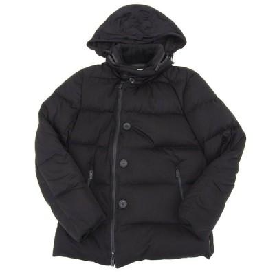 超美品 アルマーニコレッツォーニ ARMANI COLLEZIONI 現行ロゴ ホワイトダックダウン ジャケット 48 メンズ コート 黒