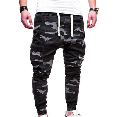 ロングパンツ メンズ 迷彩柄 ジョガーパンツ メンズ ロング スウェット ボトムス 秋冬 カジュアルパンツ 迷彩 新品 未使用 ブラック