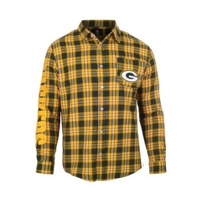 ユニセックス スポーツリーグ フットボール Green Bay Packers Wordmark Flannel Long Sleeve Button-Up - Green/ Tシャツ