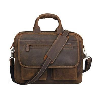 新品 Jack&Chris Men's Handmade Leather Briefcase Laptop Bag Messenger Shoulder Bag,NM1862