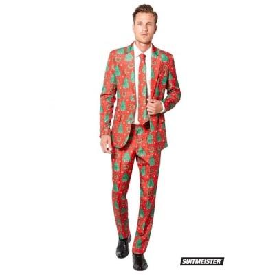 メンズ スーツ派手 目立つ 総柄 セットアップスーツ クリスマス パーティ メンズ おもしろコスプレ コスチューム 赤 冬 SuitMeister