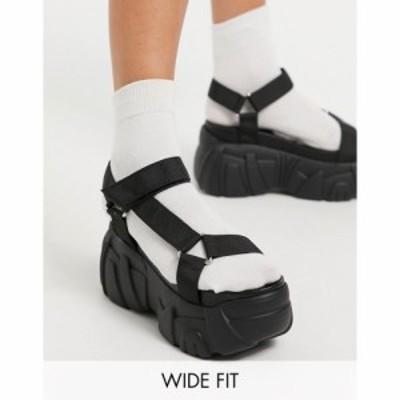 エイソス ASOS DESIGN レディース サンダル・ミュール シューズ・靴 Asos Design Wide Fit Webb Chunky Sporty Flatforms In Black ブラ