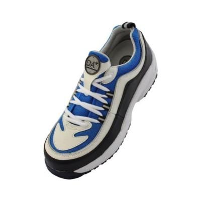 [ドンケル] Dynasty 安全靴 スニーカー 軽量 耐油 耐滑 かかと衝撃吸収 JSAA A種 (ホワイト/ブルー 25.5 cm)