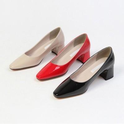 パンプス プレーン セミスクエアトゥ チャンキーヒール ハイヒール エナメル 黒 赤 ブラック レッド ベージュ レディースシューズ 婦人靴 靴 歩きやすい