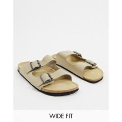エイソス メンズ サンダル シューズ ASOS DESIGN Wide Fit sandals in stone Stone