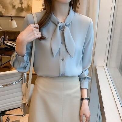 レディースブラウス春新作長袖トップスシャツオフィスシフォンシャツ大きいサイズきれいめ40代30代おしゃれ