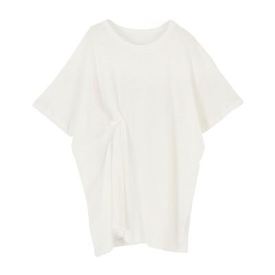 ミエット miette 斜行天竺タックデザインTシャツ (オフホワイト)