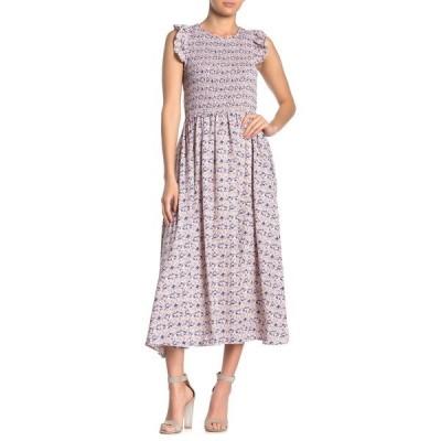 メロデイ レディース ワンピース トップス Smocked Cap Sleeve Maxi Dress PINK MULTI