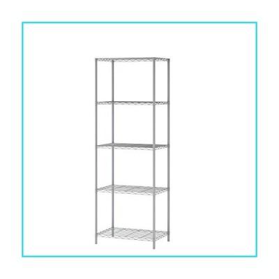MULSH 5-Tier Wire Shelving Metal Wire Shelf Storage Rack Durable Organizer Unit Perfect for Kitchen Garage Pantry Organization in Grey,21'Wx14 Dx62 H