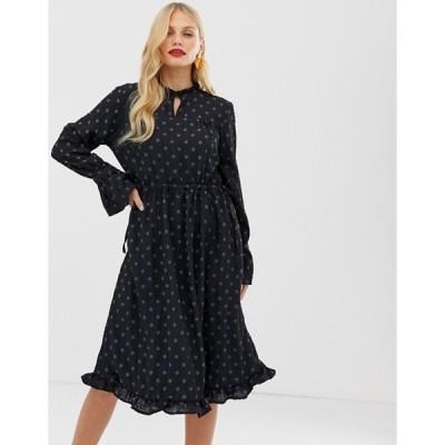 ワイエーエス レディース ワンピース トップス Y.A.S textured spot midi dress with waist tie