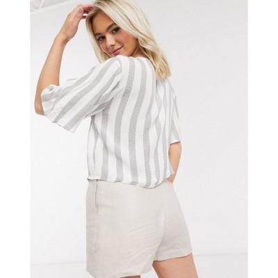 ブレーブソウル レディース カットソー トップス Brave Soul tie front crop top in stripe Gray/white