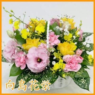花しぼり イエロ-・ピンクの可愛いアレンジメント   誕生日 記念日 お祝い