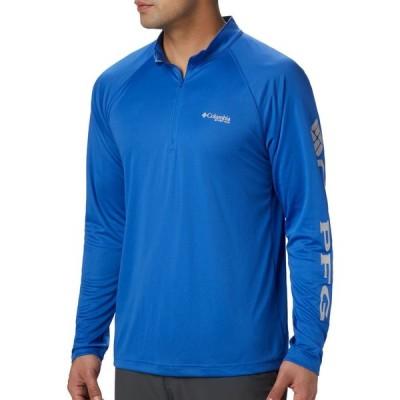 コロンビア Columbia メンズ トップス 大きいサイズ Terminal Tackle Quarter Zip Long Sleeve Shirt (Regular and Big & Tall) Vivid Blue/Cool Grey Logo