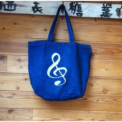 藍染 キャンバスバッグ トートバッグ 帆布バッグ 手染め 型染 ト音記号