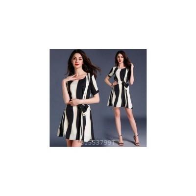 レディースワンピース新作上品ストライプパーティーOL大きいサイズドレス