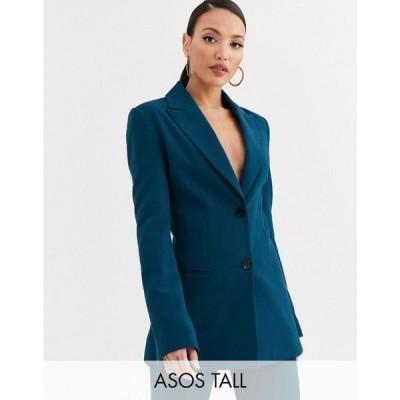 エイソス ASOS Tall レディース スーツ・ジャケット アウター ASOS DESIGN Tall pop suit blazer in teal ティール