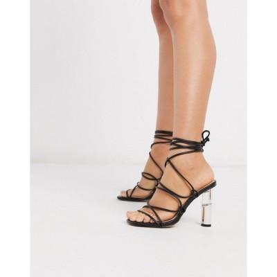 トゥラッフル レディース サンダル シューズ Truffle Collection tie leg heeled sandals with clear heel in black Black
