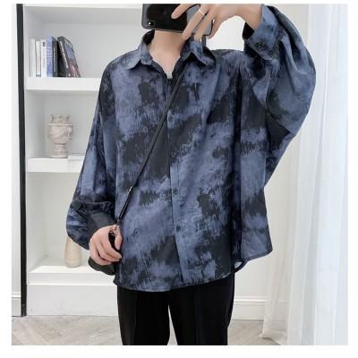 [55555SHOP] 「品良く、上質な生地。」メンズ シャツ シンプルシャツ 韓国風 ハンサム 個性 長袖 涼しい ジャケット アウター 怠惰な風 トップス