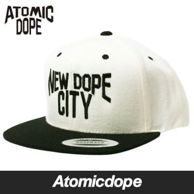 Atomicdope NEW DOPE CITY Snapback cap Natural Black スナップバックキャップ ナチュラル ブラック 帽子 白 黒 アトミックドープ フリーサイズ