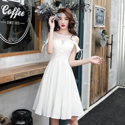 パーティードレス 膝丈ドレス 二次会ドレス Aライン カラードレス イブニングドレス 大きいサイズ 演奏会 お花嫁ドレス 姫系 結婚式 ウェディングドレス