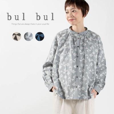 bul bul 刺繍スタンドカラーワイドシャツ BK2013219 ナチュラル服 40代 50代 大人コーデ 大人かわいい カジュアル シンプル ベーシック