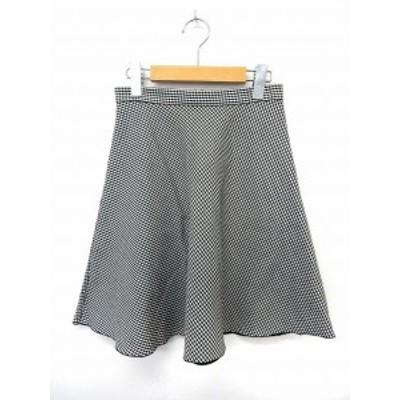 【中古】ロペピクニック ROPE Picnic スカート フレア 膝丈 チェック バックジップ 36 ブラック ホワイト  /ST15