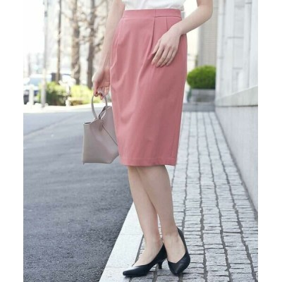 OFUON/オフオン 【洗える】タックタイトスカート ピンク L