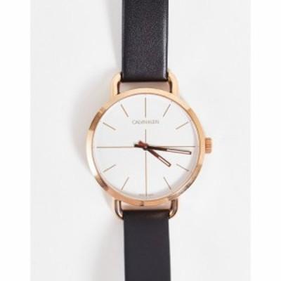 カルバンクライン Calvin Klein レディース 腕時計 leather strap watch with gold detail ゴールド