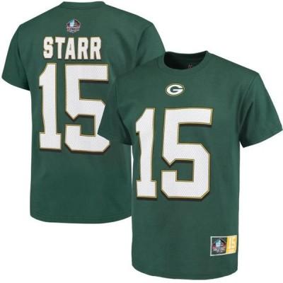 ユニセックス スポーツリーグ フットボール Bart Starr Green Bay Packers Majestic Hall of Fame Eligible Receiver II Name & Number T-S