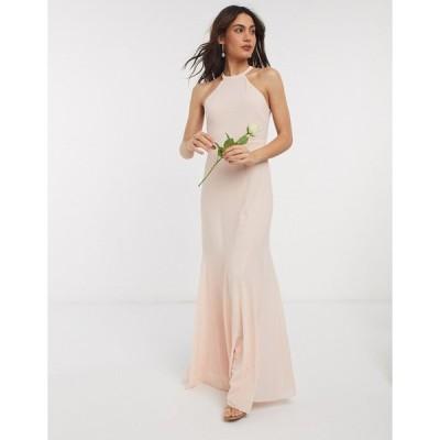 ティーエフエヌシー ミディドレス レディース TFNC bridesmaid high neck maxi dress in ecru エイソス ASOS
