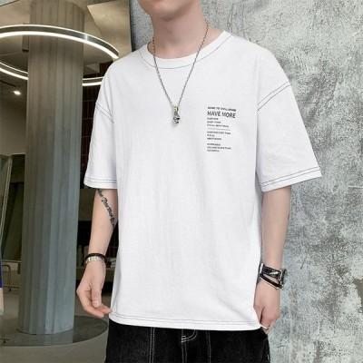 Tシャツ メンズ カットソー 丸首メンズTシャツ トップス 大きいサイズ 夏Tシャツ ホワイト グレー カーキ 春 夏 夏物 春物 ゆったり メンズファッション