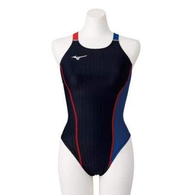 ミズノ 競泳練習用エクサースーツUP ミディアムカット[レディース] 91ブラック×ブルー L スイム 競泳水着 エクサースーツ(練習用水着) N2MA0760