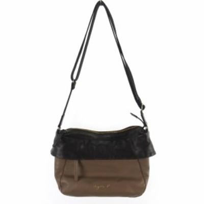 【中古】アニエスベー agnes b. ショルダーバッグ 斜めがけ ブラウン ブラック 茶 黒 レザー 鞄 レディース