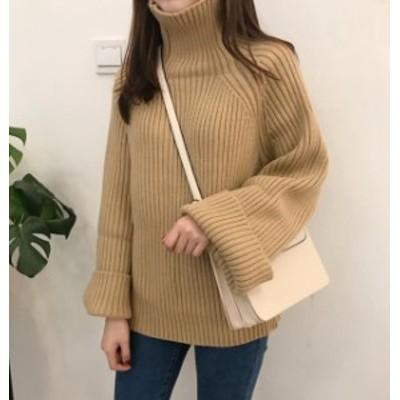 韓国 ファッション レディース ニット セーター トップス リブ ハイネック 長袖 ゆったり カジュアル 大人可愛い シンプル 秋冬