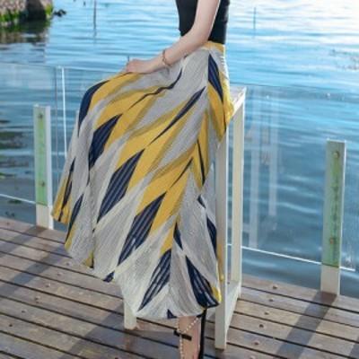 きらびやかな総柄スカート ロングスカート ミモレ丈 エレガント スタイリッシュ ワンカラー 夏 お出かけ