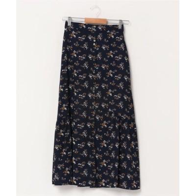 スカート フラワープリントフロントボタンスカート