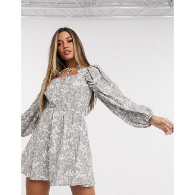 ネイキッド ミディドレス レディース NA-KD floral print scallop neck skater dress in grey エイソス ASOS グレー 灰色