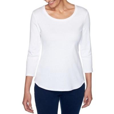 ルビーロード レディース Tシャツ トップス Solid Knit Scoop Neck 3/4 Sleeve Cotton Top Ivory