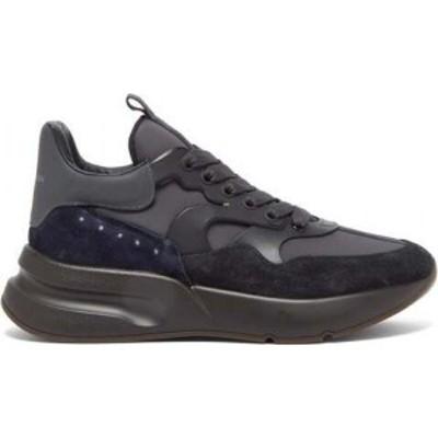 アレキサンダー マックイーン Alexander McQueen メンズ スニーカー シューズ・靴 Raised-sole suede and leather trainers Black