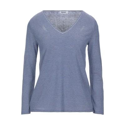 BASE T シャツ ブルー 40 レーヨン 58% / リネン 20% / ポリエステル 12% / ナイロン 10% T シャツ
