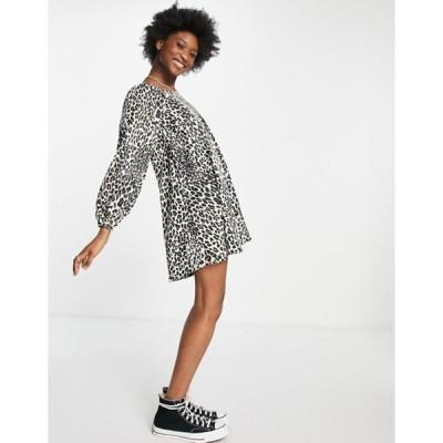 エイソス レディース ワンピース トップス ASOS DESIGN mini swing dress in leopard print