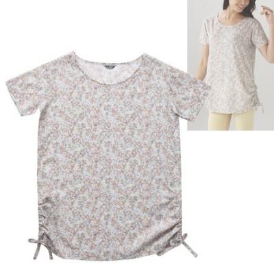 夏 シャツ 半袖 レディース心地 綿清涼感 着100% 吸水性  高島ちぢみ 裾リボンプルオーバー TK1403 小花柄ピンクサックス