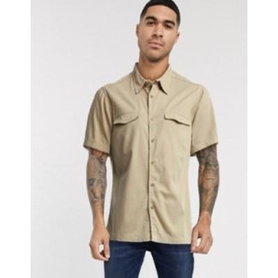 トップマン メンズ シャツ トップス Topman short sleeve twill shirt in washed stone Stone