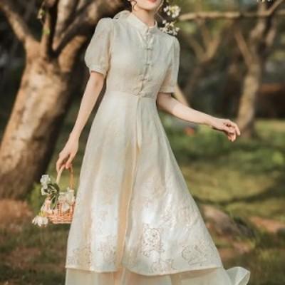 レディース 花柄刺繍 ワンピース 大きいサイズ ダンス衣装 演出服 エレガント 大人可愛い レトロドレス刺繍半袖ドレス 結婚式