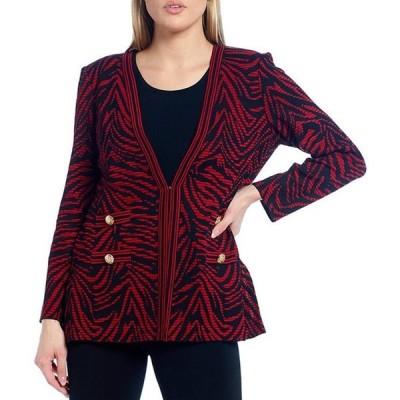 ミンウォン レディース ジャケット・ブルゾン アウター Long Sleeve Zebra Print Button Detail Jacket